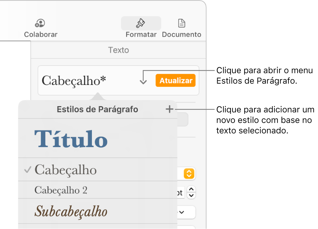 Menu Estilos de Parágrafo, exibindo os controles para adicionar ou alterar um estilo.