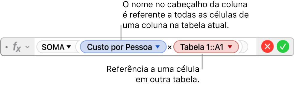 Editor de Fórmula mostrando uma fórmula referente a uma coluna de uma tabela e a uma célula de outra tabela.