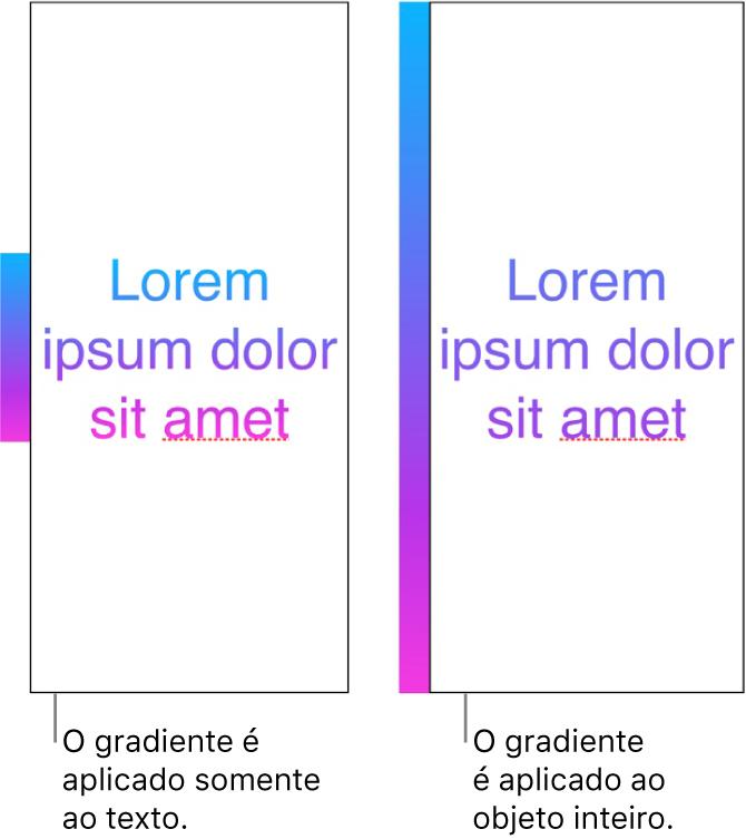 Exemplo de texto com o gradiente aplicado apenas ao texto, de forma que todo o espectro de cores é exibido no texto. Ao lado há outro exemplo de texto com o gradiente aplicado a todo o objeto, de forma que apenas parte do espectro de cores é exibido no texto.