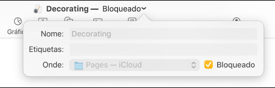 Menu pop-up para bloquear ou desbloquear um documento.