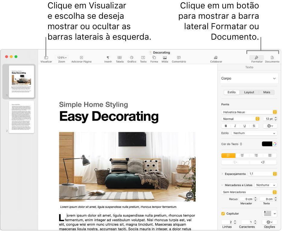 Janela do Pages com chamadas para o botão do menu Visualizar e os botões Formatar e Documento na barra de ferramentas Barras laterais abertas à esquerda e à direita.