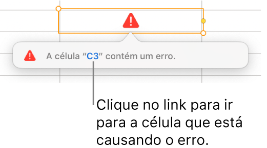 Um link de erro de célula.