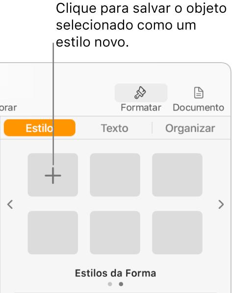 Aba Estilo da barra lateral Formatar, com o botão Criar Estilo no canto superior esquerdo e cinco marcadores de posição de estilo vazios.