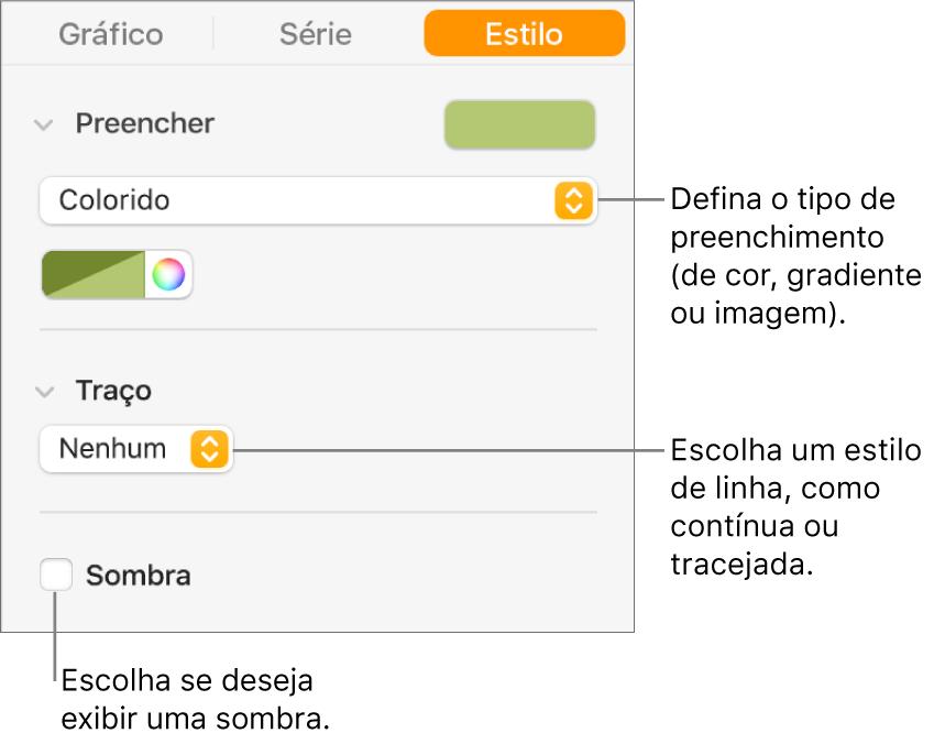 Controles para alterar a aparência da série de dados.