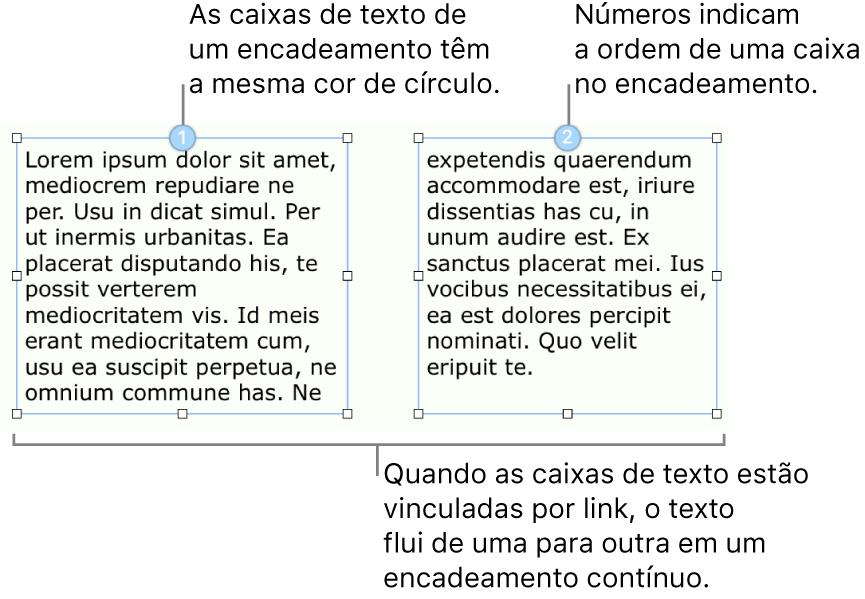 Duas caixas de texto com círculos azuis no topo e os números 1 e 2 nos círculos.