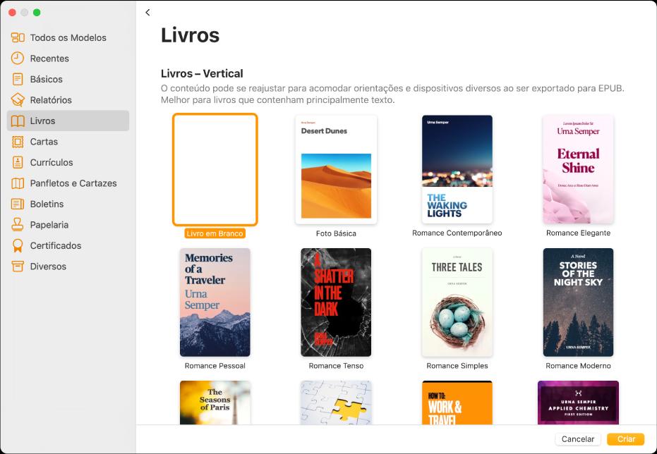 Seletor de modelos com Livros selecionado na lista de categorias à esquerda e modelos de livros na orientação vertical à direita.