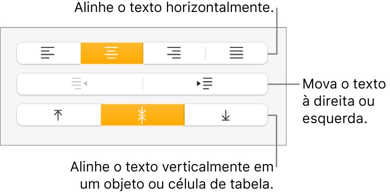 Seção Alinhamento com balões explicativos para os botões de alinhamento e espacejamento de texto.