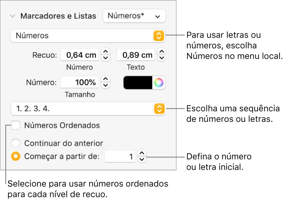 Controles para alterar o estilo dos números e espacejamento de uma lista.