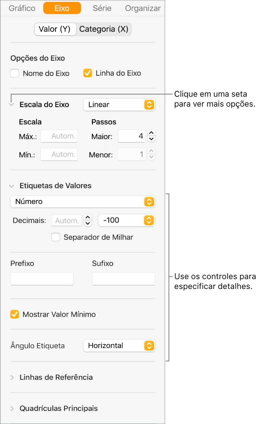 Controles para formatação de marcações de eixo do gráfico.