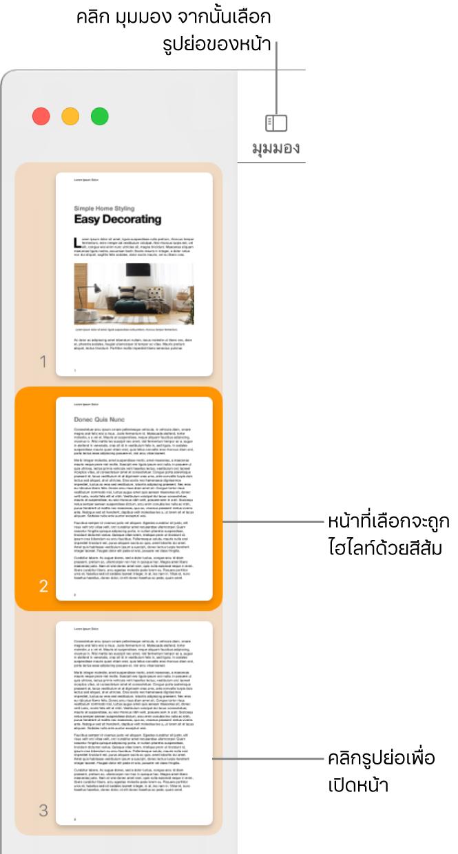 แถบด้านข้างทางซ้ายมือของหน้าต่าง Pages พร้อมมุมมองรูปย่อของหน้าจะเปิด และหน้าที่ถูกเลือกจะถูกไฮไลท์ด้วยสีน้ำ