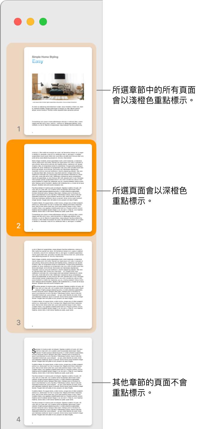 「縮圖顯示方式」側邊欄,所選取的頁面以深橙色重點標示,所選擇章節中的全部頁面則以淺橙色重點標示。