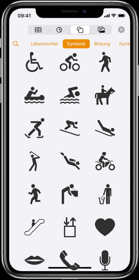 """Das Menü """"Einfügen"""" mit oben angezeigten Tasten zum Hinzufügen von Tabellen, Diagrammen, Formen und Medien. """"Formen"""" ist ausgewählt und das zugehörige Menü zeigt eine Reihe von Kategorien an, wobei sich die Taste """"Suchen"""" links befindet. Die Kategorie """"Aktivitäten"""" ist ausgewählt und Formen werden darunter angezeigt."""