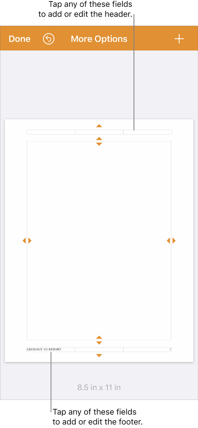 The More Options view with three fields at the top of the document for headers and three fields at the bottom for footers.