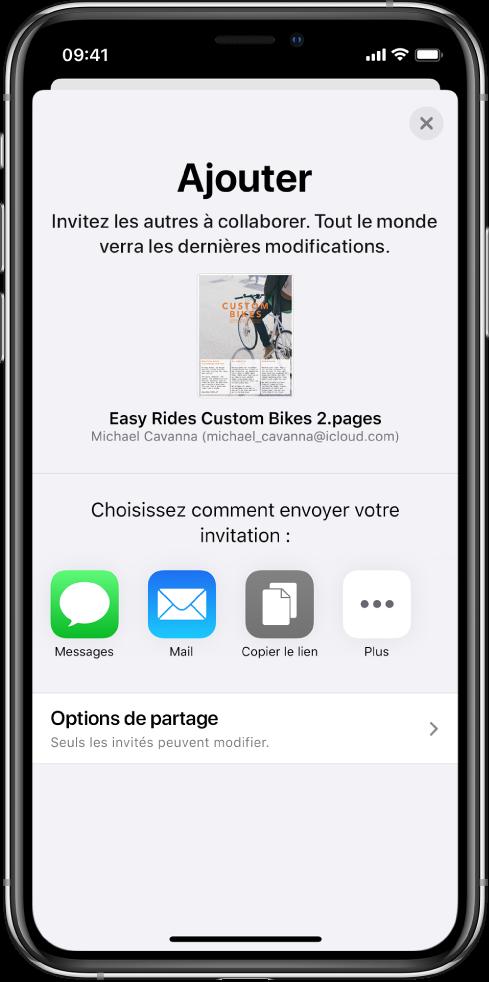 L'écran Ajouter des personnes avec l'image du document à partager. On trouve en dessous les différents boutons pour envoyer l'invitation, y compris Messages et Mail, Copier le lien et Plus. Le bouton Options de partage se trouve en bas.