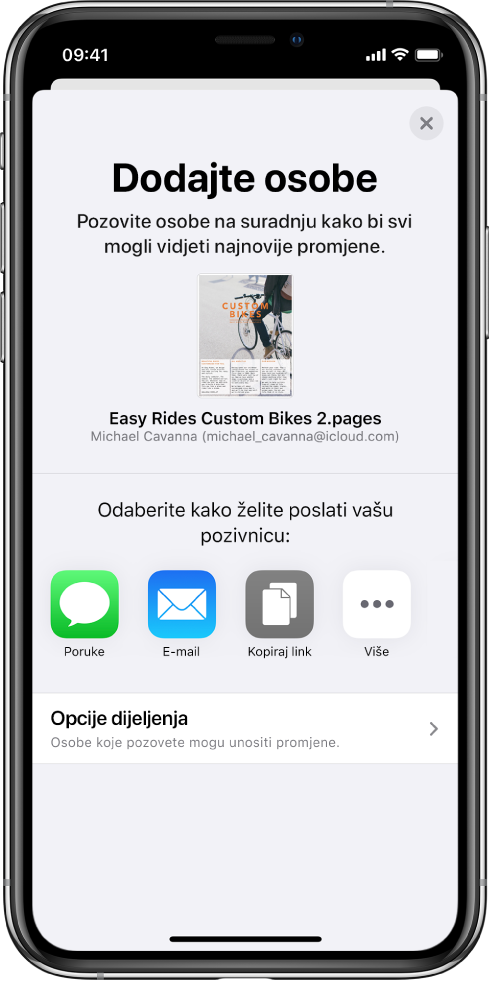 Zaslon Dodaj osobe prikazuje sliku dokumenta koji se dijeli. Ispod njega nalaze se tipke za načine slanja pozivnice, uključujući Poruke i Mail, Kopiraj link i Ostalo. Na dnu se nalazi tipka Opcije dijeljenja.