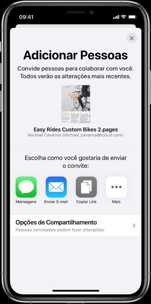 Tela Adicionar Pessoas mostrando uma imagem do documento que será compartilhado. Abaixo disso, botões das formas de envio do convite, incluindo Mensagens e Mail, Copiar Link e Mais. Na parte inferior, o botão Opções de Compartilhamento.