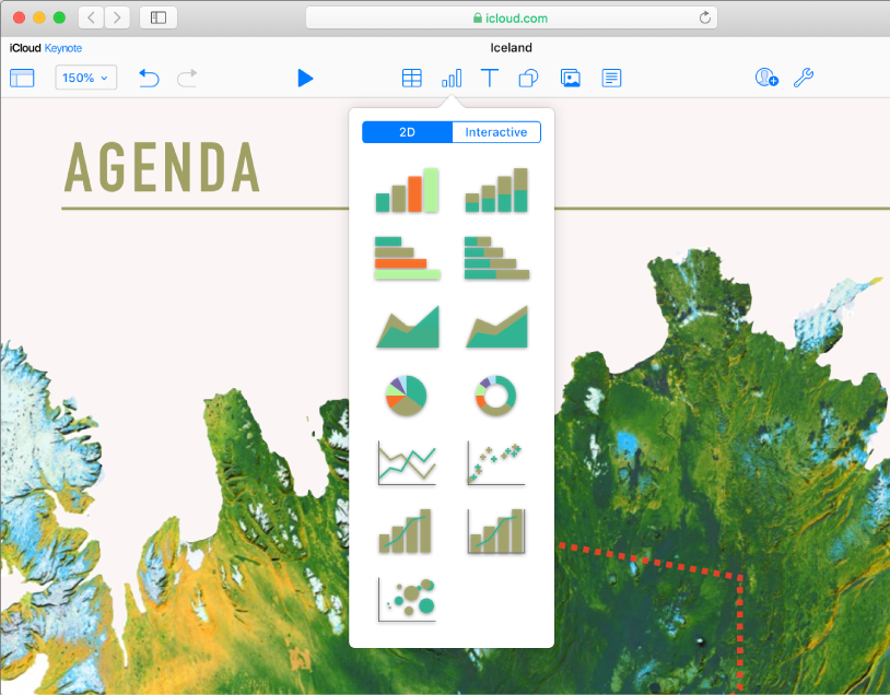 The Tables, Charts, Text, Shapes and Image object buttons appear in the toolbar. The Charts pop-up menu is open, with 2D and Interactive buttons at the top. The 2D button is selected, and a variety of 2D charts thumbnails are shown to choose from.