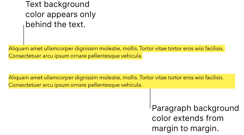 One paragraph with a yellow color behind only the text and a second paragraph with a yellow color block behind the paragraph that extends from margin to margin.
