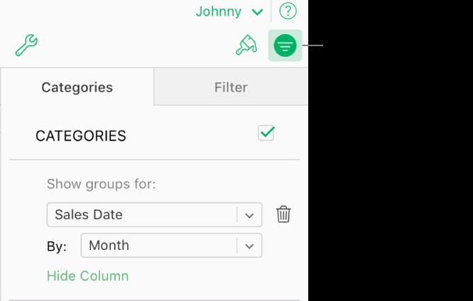 El botón Organizar se selecciona en la barra de herramientas y las reglas que describen las categorías aparecen en la pestaña Organizar, en la barra lateral. Ahora mismo, los datos están organizados por Fecha de venta y agrupados por mes.