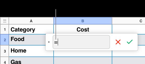 Editor de fórmulas con = y sin ninguna fórmula.