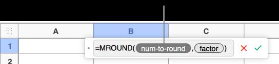 Editor de fórmulas con la función SUMA y una llamada al token de argumento de valor.