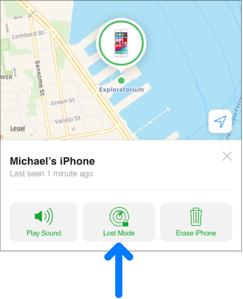 El botó mode Perdut a la part inferior central de la finestra d'informació del dispositiu.