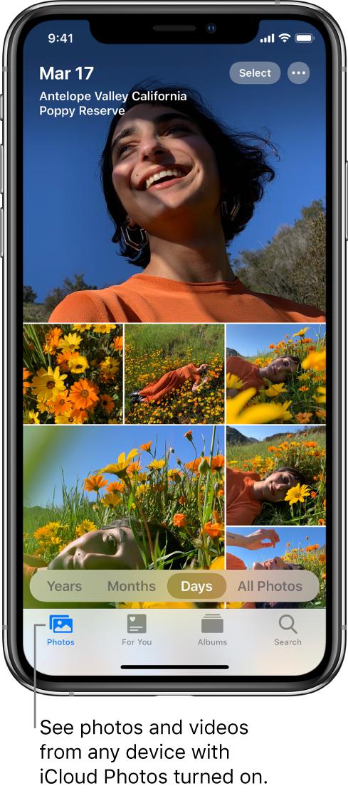 """App Fotos de l'iPhone oberta a la pestanya Fotos amb la vista de dies seleccionada. Una línia assenyala la pestanya Fotos amb el text """"Mira les fotos i els vídeos de qualsevol dispositiu que tingui activada la funció Fotos a l'iCloud""""."""