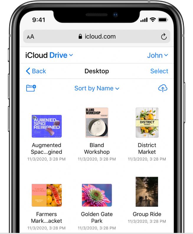 Un dossier iCloudDrive appelé «Desktop» contient des photos et présentations.
