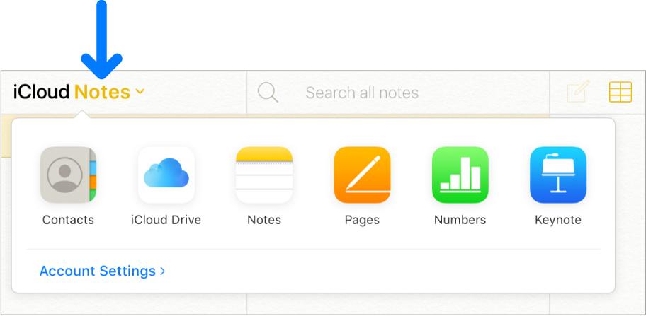 Notes iCloud est ouvert et visible dans l'angle supérieur gauche de la fenêtre iCloud. Le sélecteur d'applications est également ouvert et affiche Contacts, iCloudDrive, Notes, Pages, Numbers, Keynote et Réglages du compte.