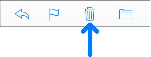"""Die Taste """"Ausgewählte E-Mails löschen"""" in der Symbolleiste."""