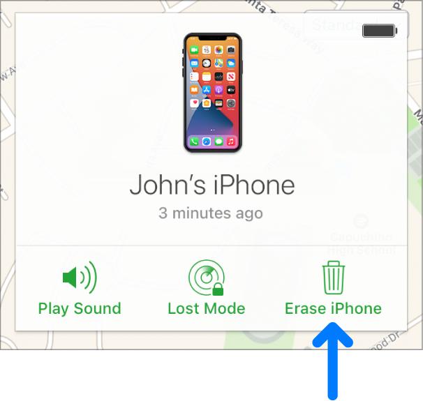 Το κουμπί σβησίματος συσκευής στην κάτω δεξιά γωνία του παραθύρου «Πληροφορίες» της συσκευής.