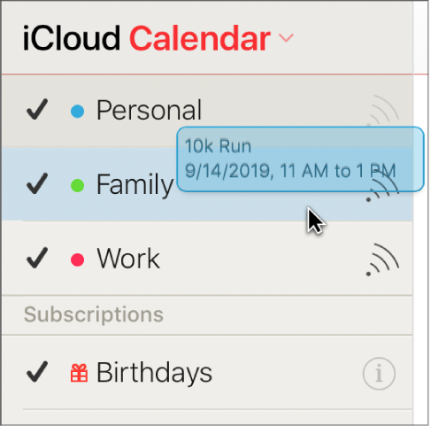 An event is dragged from one calendar to another. The new calendar is highlighted.