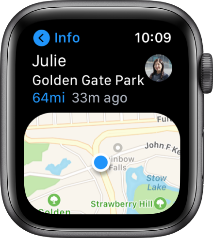 The Find People app open on Apple Watch. John's location is shown in Golden Gate Park in San Francisco.