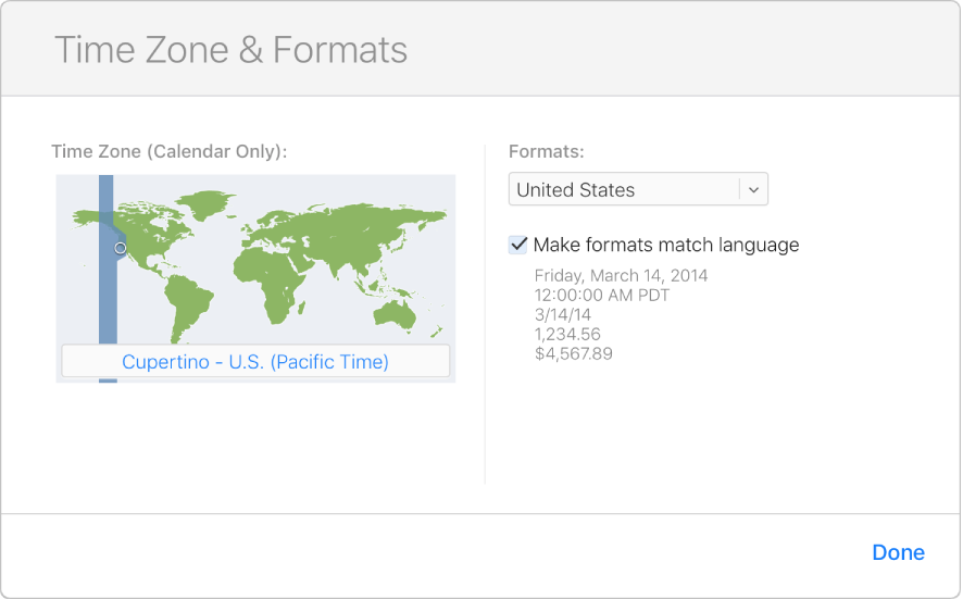 """The Time Zone & Formats window. In the Time Zone section, """"San Francisco - U.S. (Pacific Time)"""" is selected and highlighted on a map."""