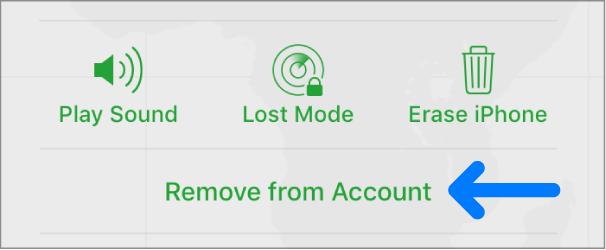 「アカウントから削除」ボタン。