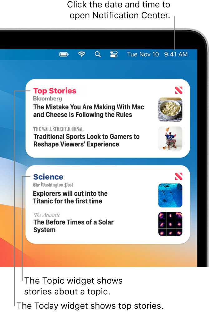 The Today and Topic widgets in Notification Center.