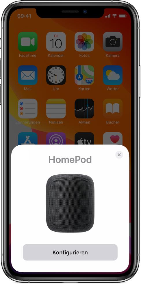 Der Konfigurationsbildschirm wird angezeigt, wenn du dein iOS- oder iPadOS-Gerät nahe an den HomePod hältst.