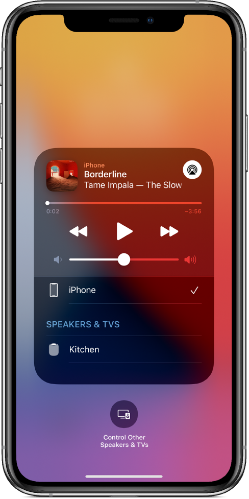 On an iPhone's screen, a song is playing and a list of devices and speakers is showing. iPhone is selected and HomePod is an option below.
