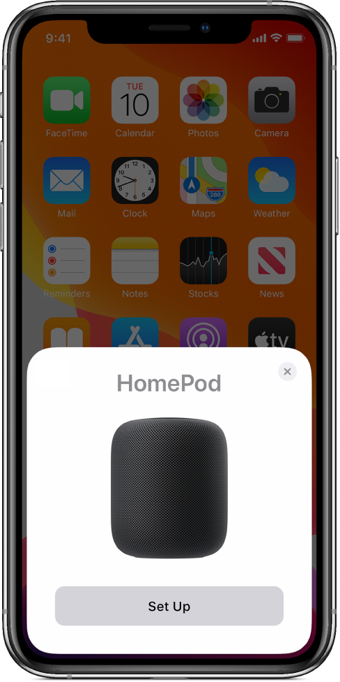 The set-up screen appears when you hold your iOS or iPadOS device near HomePod.