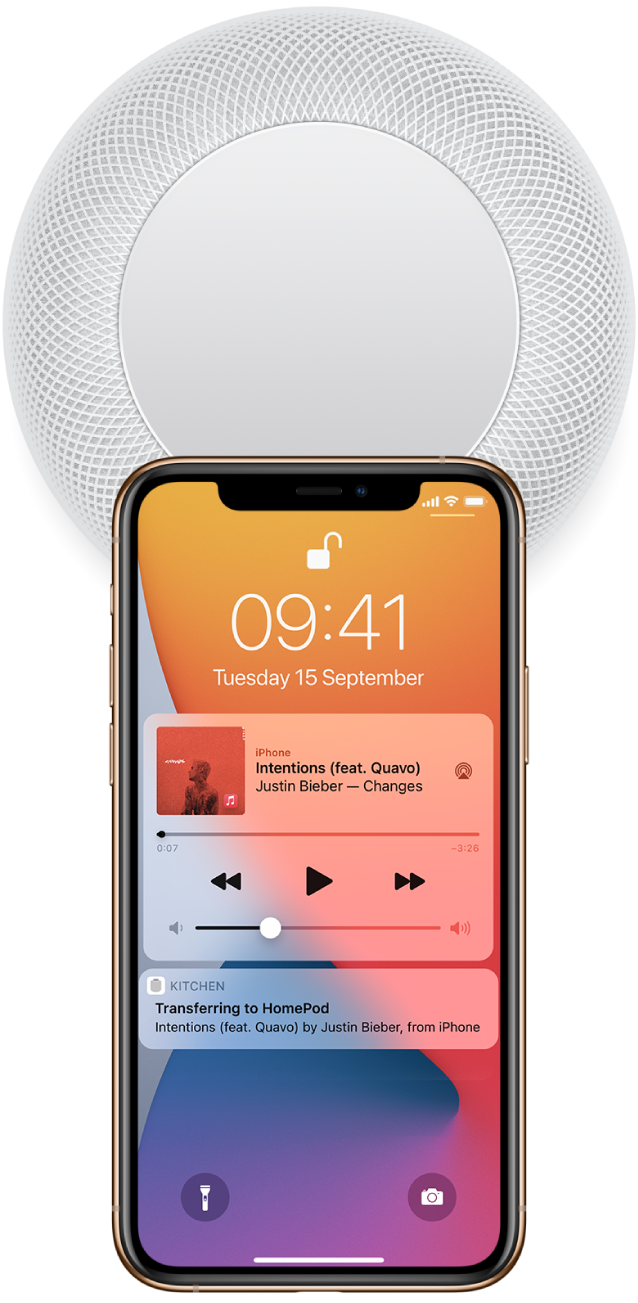 On an iPhone's screen, a song is playing. The iPhone is close to the top of HomePod, and an alert says that the song is transferring to HomePod.
