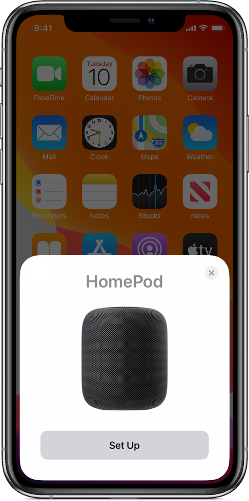 The setup screen appears when you hold your iOS or iPadOS device near HomePod.