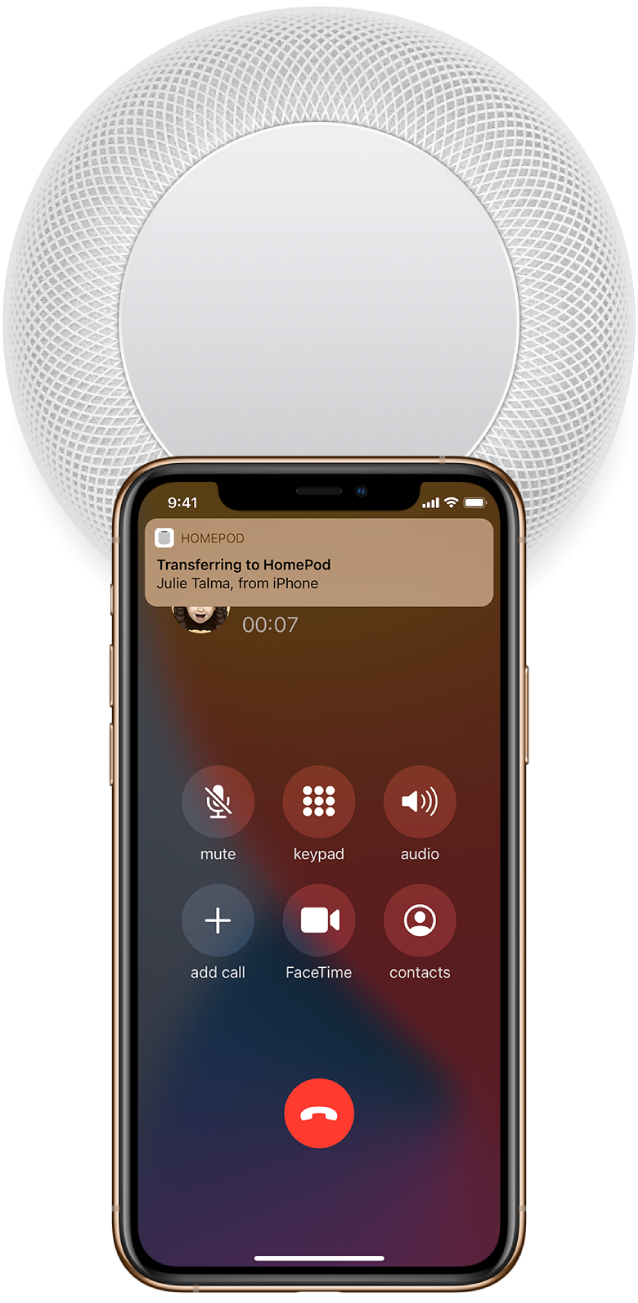 "On an iPhone, the Phone screen showing buttons while you're on a call. The iPhone is close to the top of HomePod, and an alert shows at the top of the screen saying ""Transfer to HomePod."""
