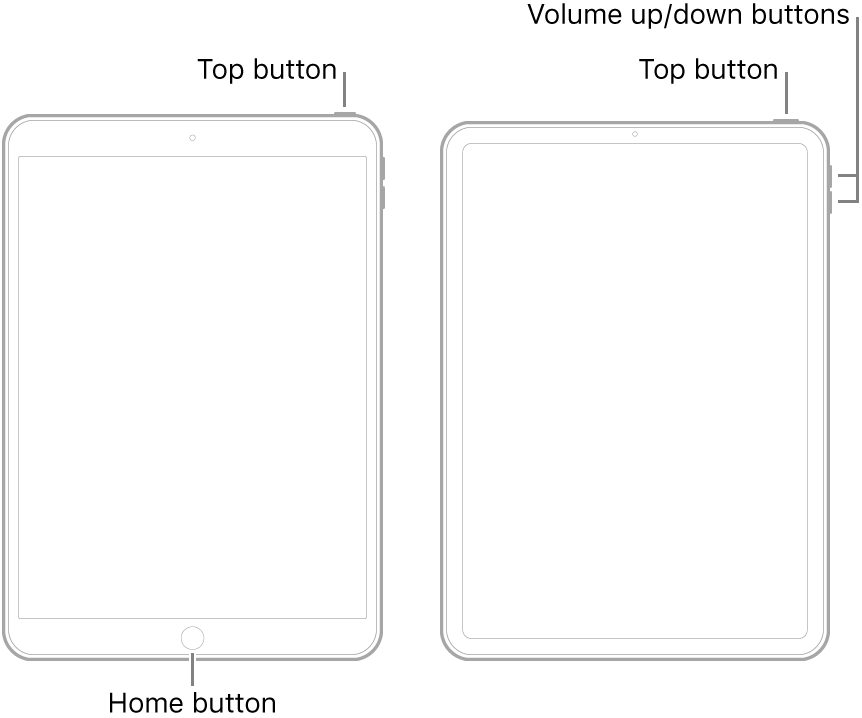 Illustrations of two different iPad models with their screens facing up. The leftmost illustration shows a model with a Home button on the bottom of the device and a top button on the top-right edge of the device. The rightmost illustration shows a model without a Home button. On this device, volume up and volume down buttons are shown on the right edge of the device near the top, and a top button is shown on the top-right edge of the device.