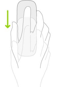Een afbeelding die het gebruik van een muis voorstelt voor het openen van het Dock.