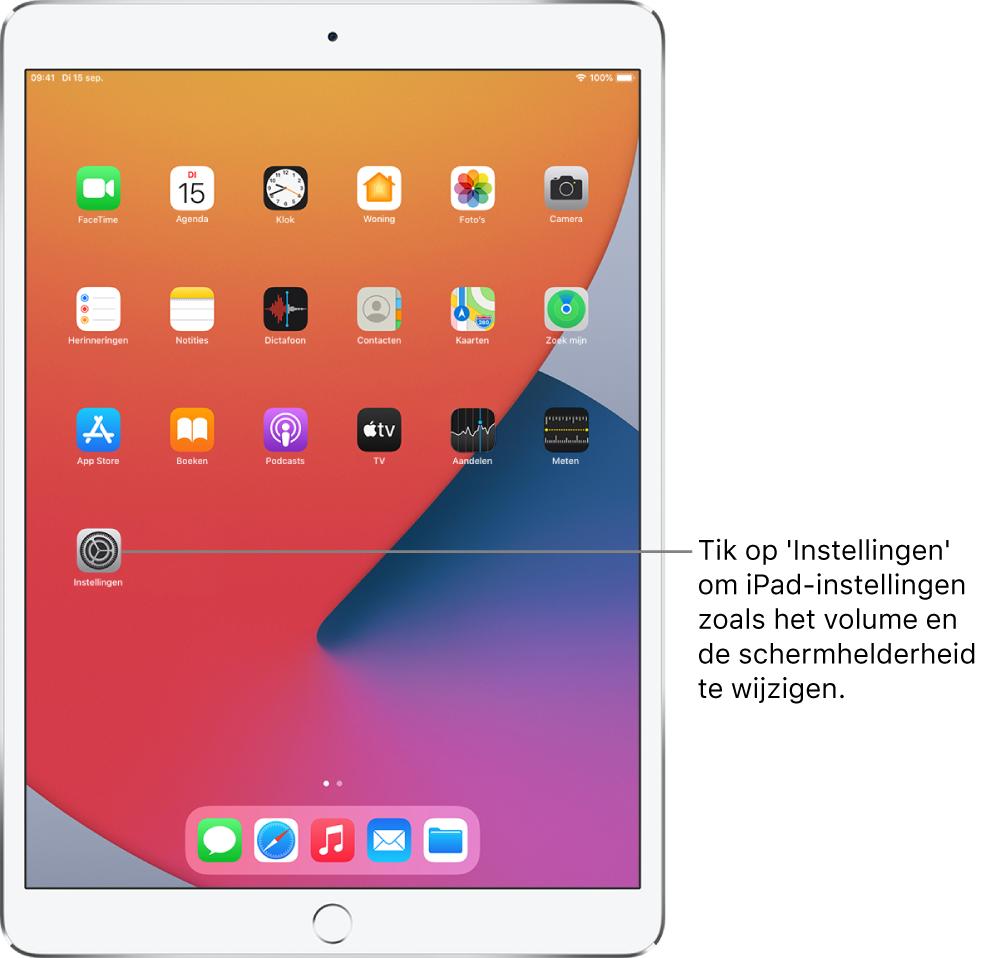 Het beginscherm met diverse appsymbolen, zoals het symbool van de Instellingen-app, waarop je kunt tikken om het volume, de schermhelderheid en andere iPad-instellingen te wijzigen.