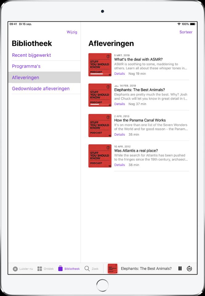 Het tabblad 'Bibliotheek' met onlangs bijgewerkte podcasts.