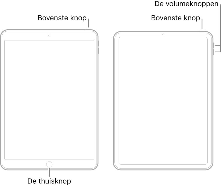Illustraties van twee verschillende iPad-modellen met het scherm naar boven gericht. De meest linkse afbeelding toont een model met een thuisknop aan de onderkant van het apparaat en een bovenste knop rechtsboven aan het apparaat. De meest rechtse afbeelding toont een model zonder thuisknop. Op dit apparaat bevinden zowel de volume-omhoogknop als de volume-omlaagknop zich rechtsboven aan het apparaat en bevindt de bovenste knop zich rechtsboven aan het apparaat.
