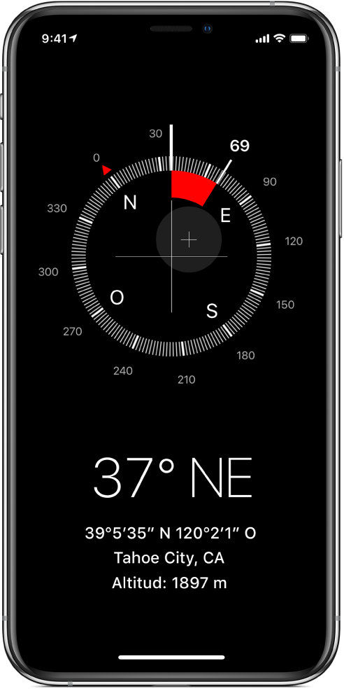 Pantalla de l'app Brúixola que mostra la direcció en què apunta l'iPhone, la teva ubicació actual i l'elevació.