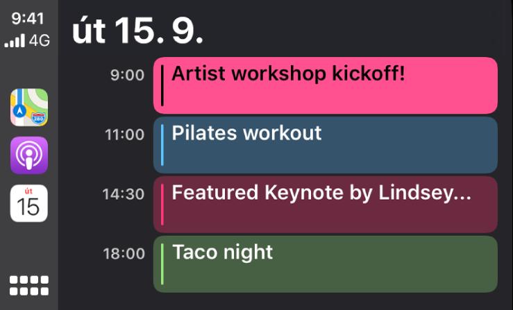 Obrazovka kalendáře vsystému CarPlay, na níž jsou vidět 4události naplánované na úterý 15.září