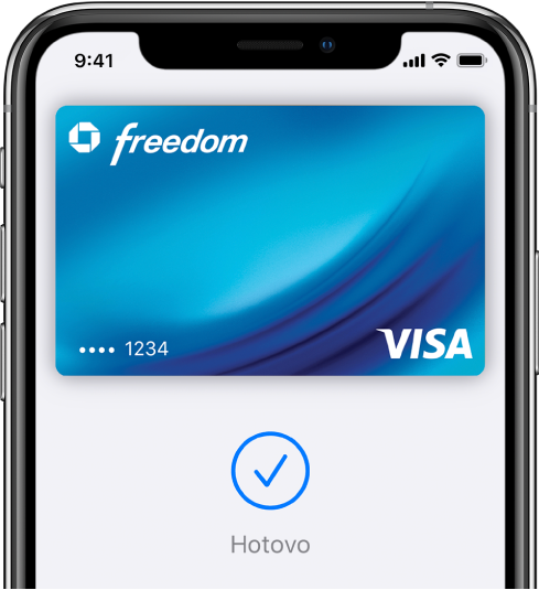 """Kreditní karta na obrazovce aplikace Wallet. Pod kartou je vidět značka zaškrtnutí aslovo """"Hotovo"""""""